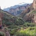The Bright Angel Trail leads up to the South Rim from Phantom Ranch.- The Grand Canyon of the Colorado River