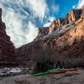 Camp at North Canyon, just before the start of the 'Roaring 20's' stretch of rapids.- The Grand Canyon of the Colorado River