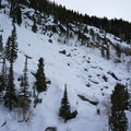 Snow covered boulders on the south side of the canyon.- Upper Fish Creek Falls