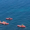 A tour group as viewed from La Jolla Coast Walk.- La Jolla Shores