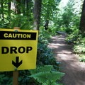 Signs warn of upcoming stunts.- L.L. Stub Stewart State Park Mountain Bike Trails: Freeride + XC Loop