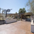 Entrance to the Oasis of Mara Visitor Center and Desert Institute at Joshua Tree National Park.- Oasis of Mara