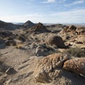 View to the west from the Fortynine Palms Oasis Trail.- Fortynine Palms Oasis Hike