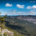 Mount St. Helens, Mount Rainier, Mount Adams, and Mount Hood can be seen on a clear day from the summit.- Battle Ax Mountain