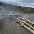 A few benches are located near the entrance of the hot springs. - Boiling River Hot Springs