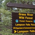 The entrance for Lampson Falls is marked by this sign.- Lampson Falls