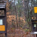 The trail register can be found a short way down the trail.- Lampson Falls