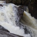 The falls drop dramatically in separate channels.- Auger Falls