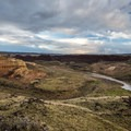 The view of the Owyhee River and Pruitt's Castle from the banks above Rye Grass. - Owyhee River: Rome to Birch Creek