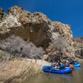 Checking out Cave Camp.- Owyhee River: Rome to Birch Creek