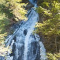 A view of the main falls from an overlook.- Moss Glen Falls