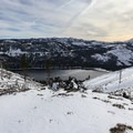 Overlooking Donner Lake from the overlook spur.- Donner Ridge Snowshoe via Glacier Way Trailhead