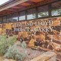 The front of the visitor center.- Cleveland-Lloyd Dinosaur Quarry