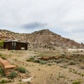 View of both the visitor center and the quarry buildings.- Cleveland-Lloyd Dinosaur Quarry