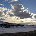 Sun setting over Lamar Valley in Yellowstone National Park.- Lamar Valley