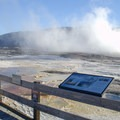 Steam rising from Mammoth Hot Springs.- Mammoth Hot Springs