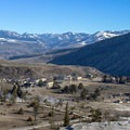 View from the top of the Mammoth Hot Springs complex.- Mammoth Hot Springs