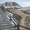 The boardwalks around Mammoth Hot Springs are not maintained during the winter, but they may still be passable. - Mammoth Hot Springs