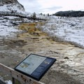 Interpretive signs are located around the boardwalks in Mammoth Hot Springs.- Mammoth Hot Springs