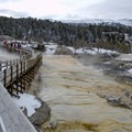 Boardwalk along the main terrace in Mammoth Hot Springs.- Mammoth Hot Springs