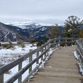 Boardwalk along the Mammoth Hot Springs in Yellowstone National Park.- Mammoth Hot Springs
