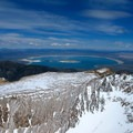 The summit offers 360-degree views of the surrounding area, including a clear view of neighboring Mono Lake.- Mount Dana Backcountry Ski