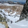 Dana Couloir drops down from the summit ridge to the Dana Glacier.- Mount Dana Backcountry Ski