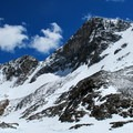 View of Mount Dana from Dana Lake. Dana Couloir on the left of the peak. Solstice Couloir on the right. - Mount Dana Backcountry Ski