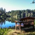 Morning view of Neva Lake.- San Juan Island: Lake Dale Resort + Campground