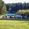 Group camping area near the lake.- San Juan Island: Lake Dale Resort + Campground