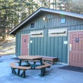 Bathroom and shower facilities.- San Juan Island: Lake Dale Resort + Campground
