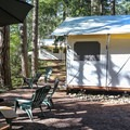 There are a few canvas tents available for rent at the resort.- San Juan Island: Lake Dale Resort + Campground