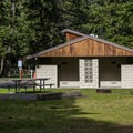 Restrooms are ADA accessible.- Wallowa Lake State Park Campground