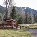 The yurts are far from the lake, but they have a beautiful backdrop.- Wallowa Lake State Park Campground