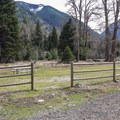 One of the three group camping areas.- Wallowa Lake State Park Campground