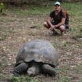 Contributor Shane Kucera and a Galápagos giant tortoise.- Manzanita Ranch