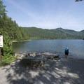 Boat ramp at Hicks Lake Campground.- Hicks Lake Campground