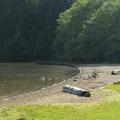 Small beach at Hicks Lake Campground.- Hicks Lake Campground