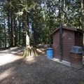 Vault toilet facility at Hicks Lake Campground.- Hicks Lake Campground