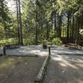 Side-by-side camping spots at Hicks Lake Campground.- Hicks Lake Campground