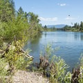 The Spokane River at Plantes Ferry swimming hole.- Plantes Ferry Park Swimming Hole