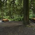 Picnic area near the parking lot.- Bridal Veil Falls