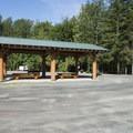 Central picnic shelter at Tamihi Creek East Recreation Site Campground.- Tamihi Creek East Recreation Site Campground