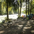 Riverside campsite at Tamihi Rapids Recreation Site Campground.- Tamihi Rapids Recreation Site Campground