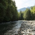 Chilliwack River and Allison Pool at Allison Pool Group Campground.- Allison Pool Recreation Site Group Campground