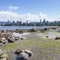 Tide pools and the view northeast toward Vancouver.- Kitsilano Beach