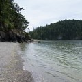 The southern end of the bay is separated by high tide.- Bowman Bay