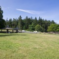 Covered picnic areas and parking.- Sunset Beach, Washington Park
