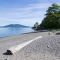 View of Guemes Island.- Sunset Beach, Washington Park