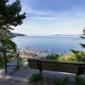 A bench by the tiny parking lot overlooks Rosario Strait.- West Beach